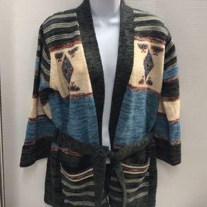 Fully Fashioned knit cardigan Aztec print size M
